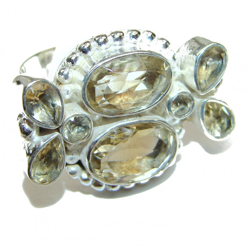 Vintage Style Natural Citrine .925 Sterling Silver handcrafted Ring s. 8