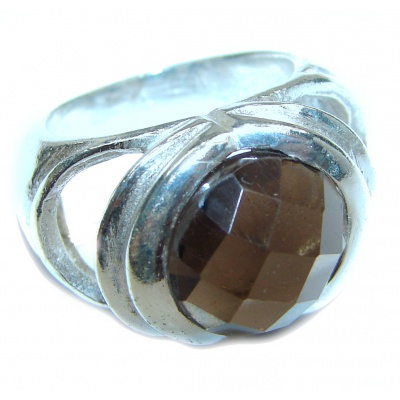 Large Authentic Smoky Topaz .925 Sterling Silver handcrafted ring; s. 5 3/4