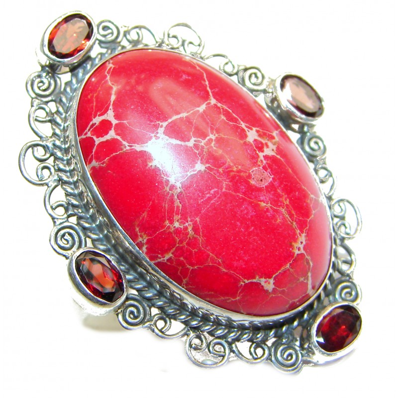 Large Sea Sediment Jasper .925 Sterling Silver handmade ring size 5