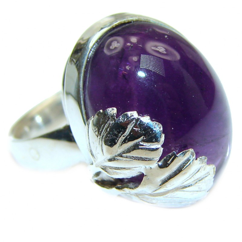 Genuine Amethyst .925 Sterling Silver handcrafted Ring size 8 adjustable