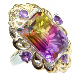 HUGE emerald cut Ametrine 18K Gold over .925 Sterling Silver handcrafted Ring s. 7 1/2