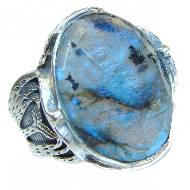 Fire Labradorite 18K Gold over .925 Sterling Silver Bali handmade ring size 7