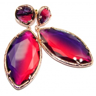 Large Very Unique Red Topaz Quartz 14K Gold over .925 Sterling Silver earrings
