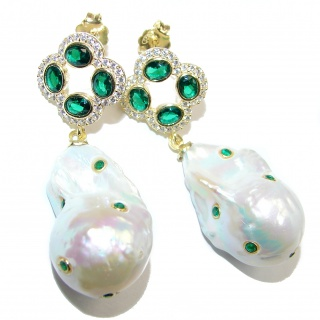 Precious genuine Mother of Pearl 24K Gold over .925 Sterling Silver earrings