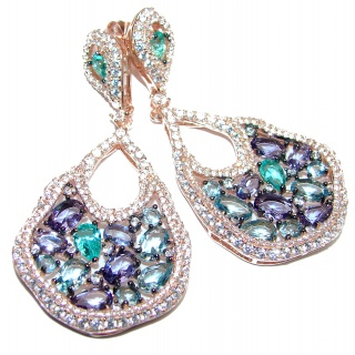 Rich Design Swiss Blue Topaz Apatite .925 Sterling Silver handcrafted earrings
