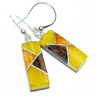 Masterpiece Genuine Baltic Amber .925 Sterling Silver Earrings