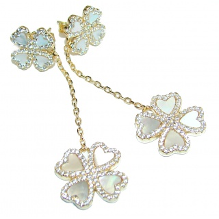 Outstanding Lucky Four Leaf Clover 18K Gold over .925 Sterling Silver Earrings