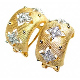 Royal design White Topaz 18K Gold over .925 Sterling Silver handcrafted earrings