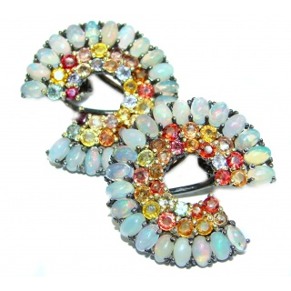 Large Authentic Ethiopian Fire Opal Tourmaline .925 Sterling Silver handmade earrings
