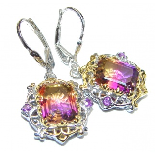 Ametrine 14K Gold over .925 Sterling Silver entirely handmade earrings