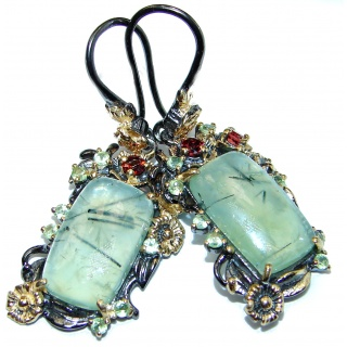 Authentic Moss Prehnite 18K Gold over .925 Sterling Silver handmade earrings