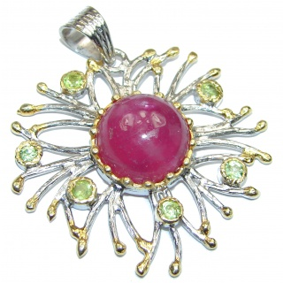 Vintage Design 25ctw Ruby Peridot 18k Gold over .925 Sterling Silver handmade Pendant
