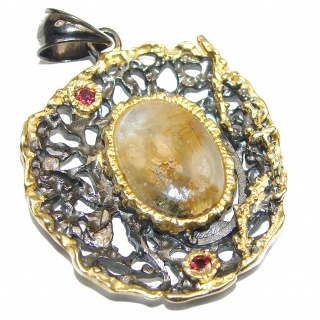 Himalayan Treasure Golden Rutilated Quartz 18k Gold over.925 Sterling Silver Pendant