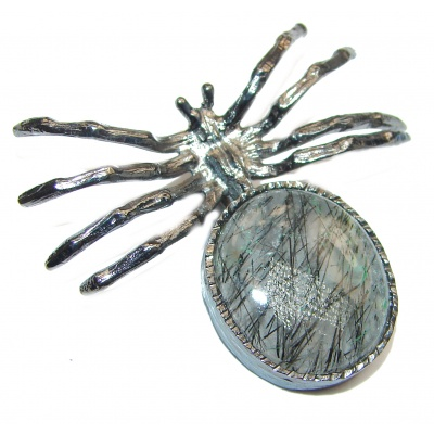 Incredible Spider Tourmalinated Quartz .925 Sterling Silver handmade Pendant