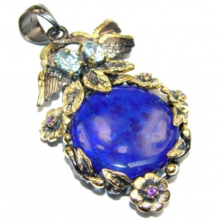 Natural Lapis Lazuli 14K Gold over .925 Sterling Silver handcrafted Pendant