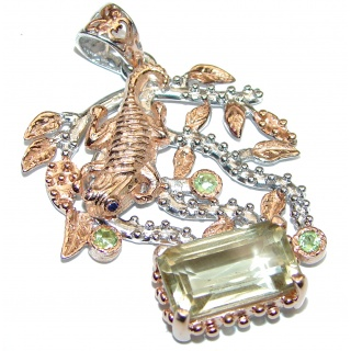 Huge Rough Green Amethyst 18k Gold Rhodium over .925 Sterling Silver Pendant