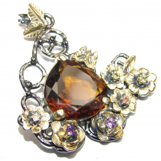 Vintage Design Beauty Smoky Topaz 18K Gold over .925 Sterling Silver handmade Pendant