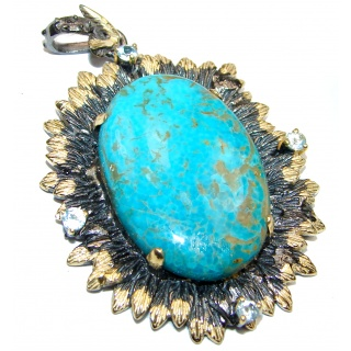 Exquisite authentic Turquoise 18K Gold over .925 Sterling Silver handmade Pendant