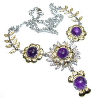 Golden Reef Amethyst Rose 14k Gold over .925 Sterling Silver handcrafted necklace