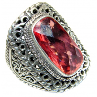 Top Quality Raspberry Topaz .925 Sterling Silver handcrafted Ring s. 9
