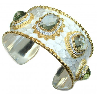 Enchanted Beauty Aqua Topaz 24K Gold over .925 Sterling Silver antique patina Bracelet / Cuff