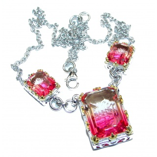Emerald cut Pink Tourmaline color Topaz .925 Sterling Silver handcrafted necklace