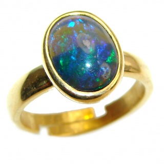 Genuine Black Opal 24K Gold over .925 Sterling Silver handmade Ring size 8 adjustable