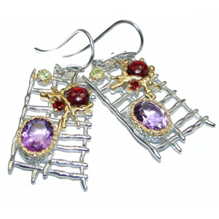 Long Impressive Multigem 14K Gold Rhodium over .925 Sterling Silver handmade earrings