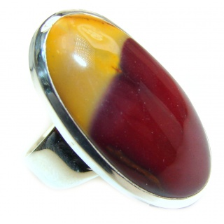 Huge Boho style Mookaite .925 Sterling Silver handmade ring size 9