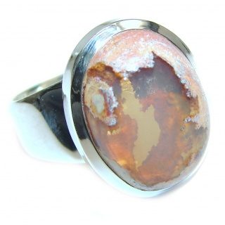 Pure Perfection Genuine Mexican Opal .925 Sterling Silver handmade Ring size 8