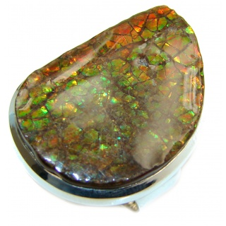HUGE Genuine Canadian Ammolite .925 Sterling Silver handmade ring size 9