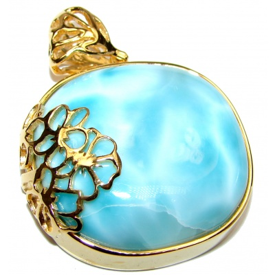 Authentic Caribbean Larimar 18K Gold over .925 Sterling Silver handmade pendant