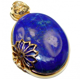 Blue authentic Lapis Lazuli 18K Gold over .925 Sterling Silver handcrafted Pendant