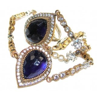 Victorian Style created Sapphire & White Topaz Sterling Silver Ring connected with Bracelet