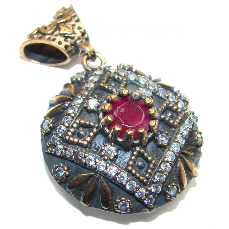 Large created Ruby 18K Gold over .925 Sterling Silver handmade Pendant