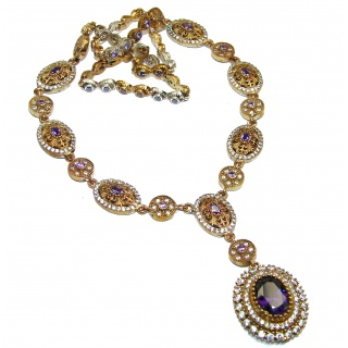Magic Purple Rainbow Topaz .925 Sterling Silver handmade necklace