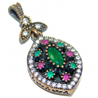 Victorian Style created Emerald Sterling Silver Pendant