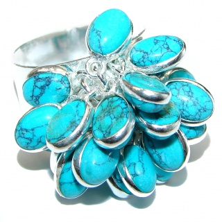 Turquoise .925 Sterling Silver handmade CH CHA ring s. 8