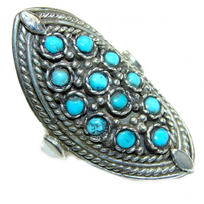 Blue Copper Turquoise .925 Sterling Silver ring; s. 9 1/4