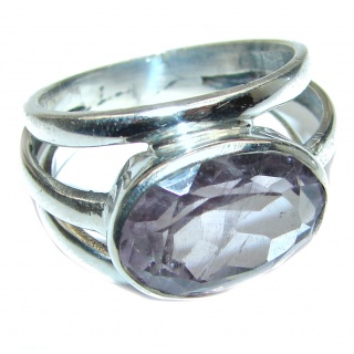 Genuine Amethyst .925 Sterling Silver handcrafted Ring size 9