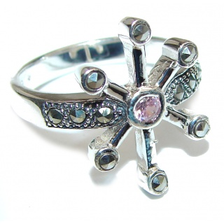 Great Pink Topaz Marcasite Shell Sterling Silver Ring s. 8