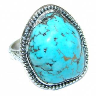 Huge Turquoise .925 Sterling Silver handcrafted ring; s. 9 3/4