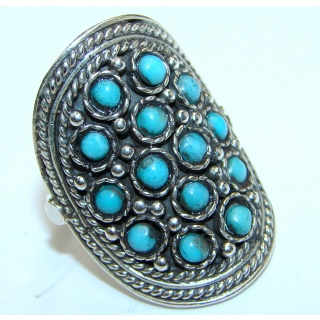 Blue Copper Turquoise .925 Sterling Silver ring; s. 8