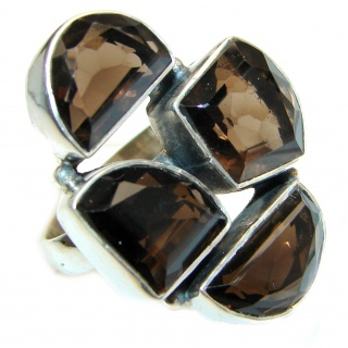 Champagne Smoky Topaz .925 Sterling Silver Ring size 7 1/4