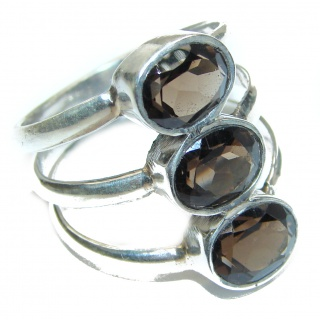 Champagne Smoky Topaz .925 Sterling Silver Ring size 8