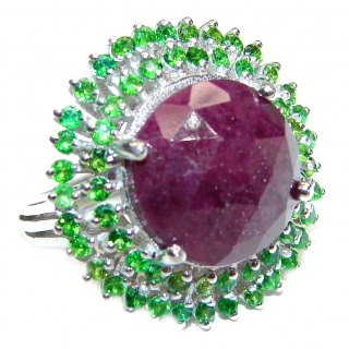 Genuine Ruby Emerald .925 Sterling Silver handmade Cocktail Ring s. 6