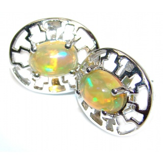 Classy genuine Ethiopian Doublet Opal .925 Sterling Silver handmade earrings