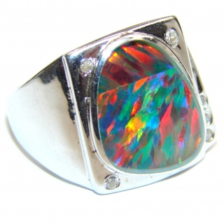 Australian Triplet Opal .925 Sterling Silver handcrafted ring size 7 1/2