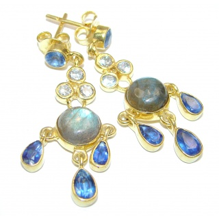 Perfect genuine Labradorite 14K Gold over .925 Sterling Silver handmade earrings