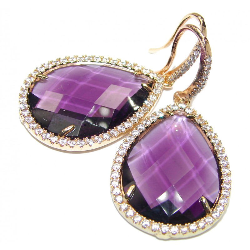 Authentic faceted Purple Quartz 10K Gold over .925 Sterling Silver handmade earrings